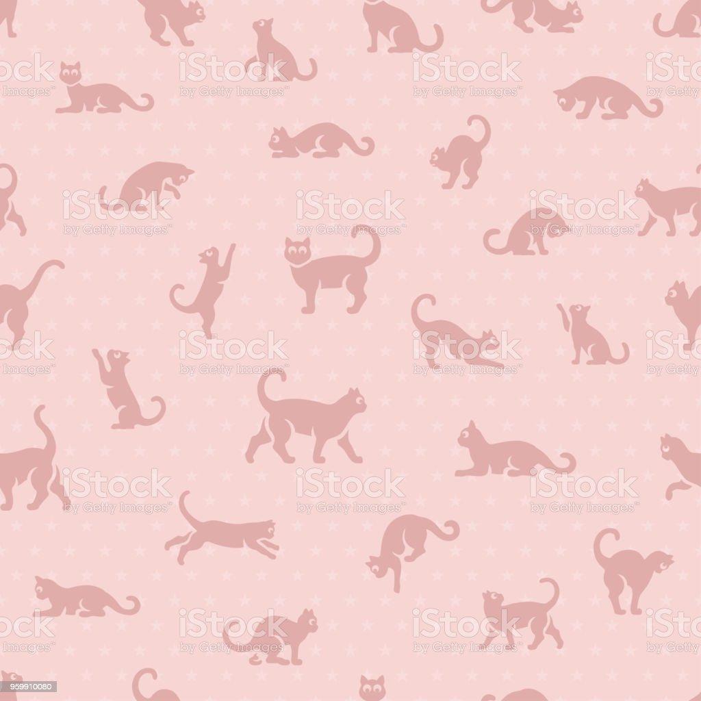 かわいい猫シームレスなパターン ベクターアートイラスト
