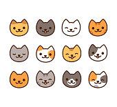 Cute cartoon kitties in Japanese kawaii style. Simple and minimal cat face icon set, vector illustration.