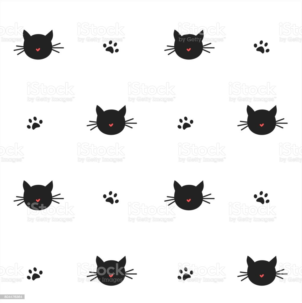 cute cats silhouette seamless vector pattern background illustration vector art illustration