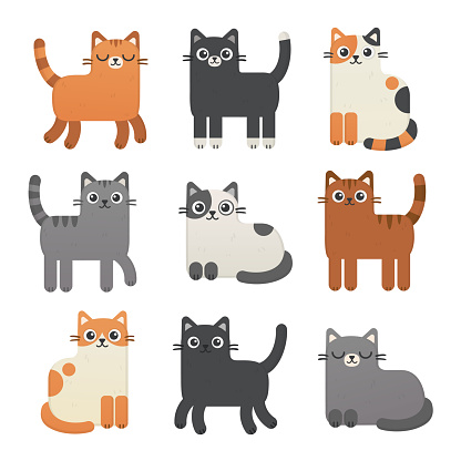 Cute cats vector set.