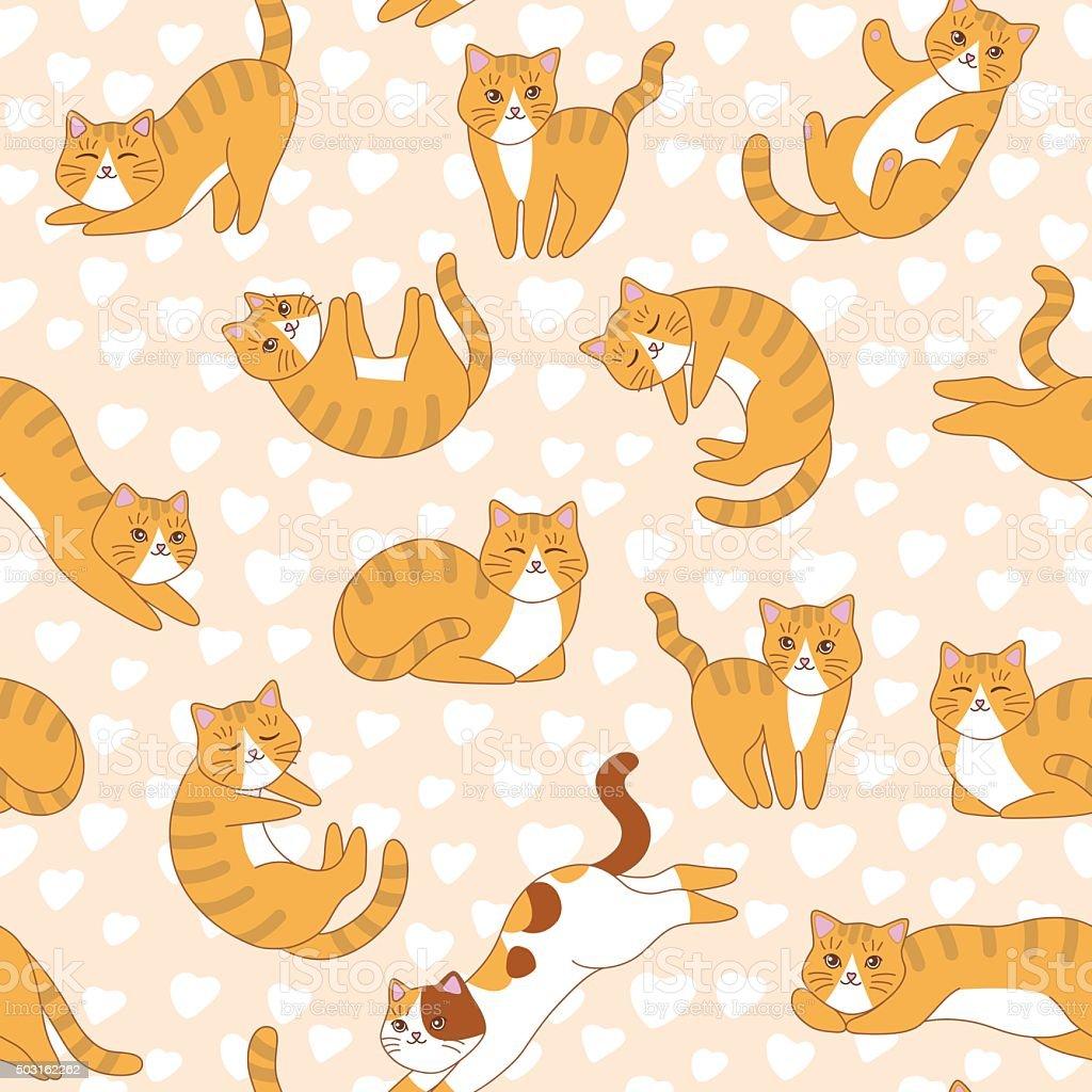 ładny Koty Z Różowego Serca Na Wektor Bezszwowe Wzór Stockowe