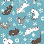 Cute Cats with Snowflakes seamless pattern