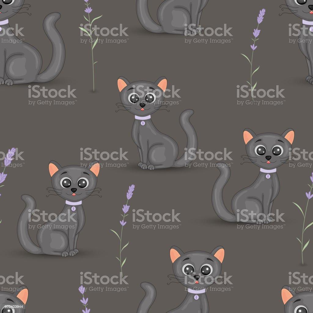 Vetores De Gatos Bonitos Com O Colar Colorido Sem Costura De Fundo