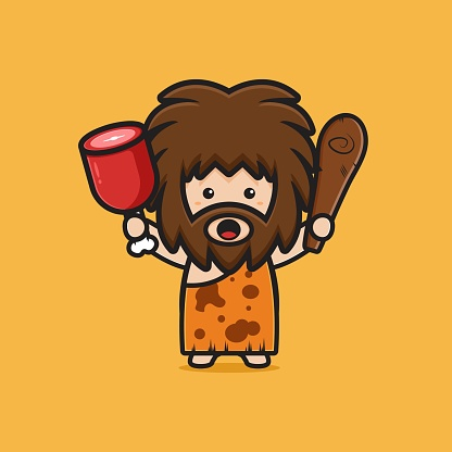 Cute caveman holding meat and clubwooden cudgel cartoon icon illustration