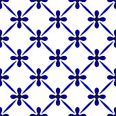 abstract modern pattern blue and white, porcelain seamless floral background, cute ceramic wallpaper decor, indigo template design for print texture and silk, pottery decor vector illustration