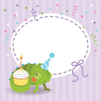 Cute chameleon birthday card cupcake