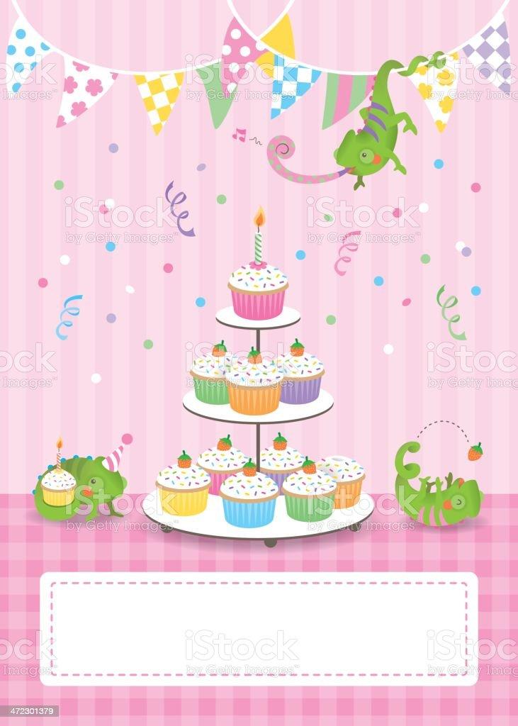 Cute chameleon birthday card girl vector art illustration