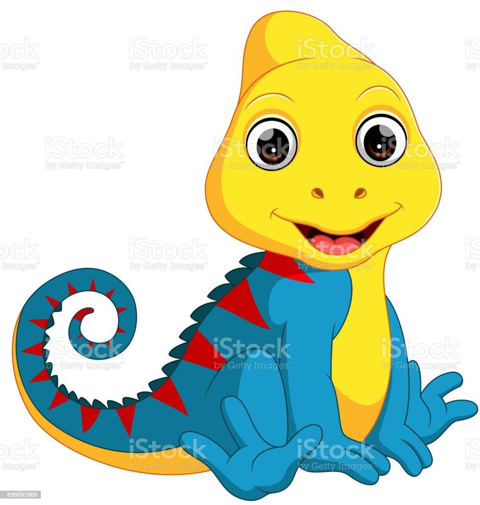 Cute Chameleon cartoon vector art illustration