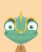 Cute chameleon.Childish print for nursery,kids apparel,poster,postcard.