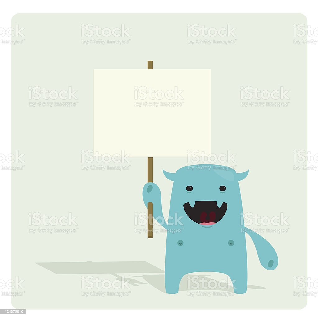 Cute Character Carrying an Empty Sign vector art illustration