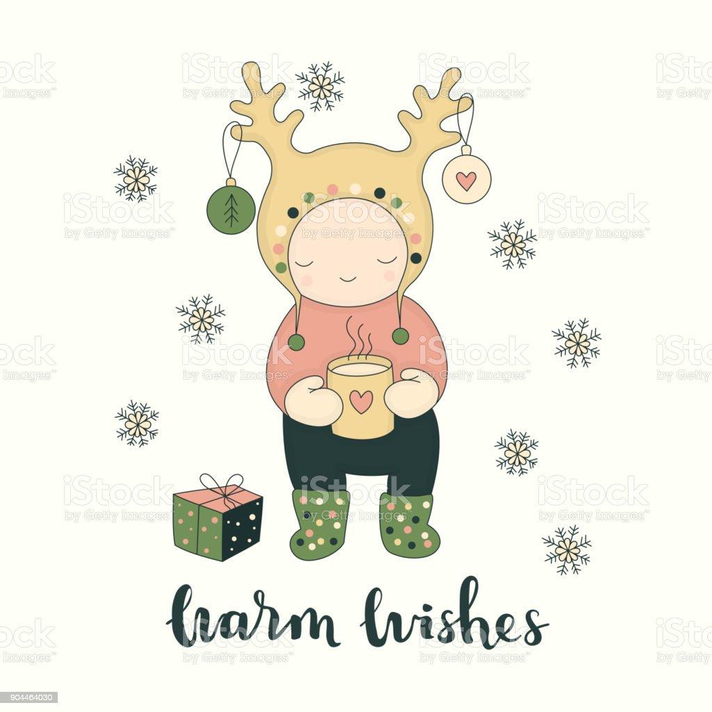 Cute character greeting card vector art illustration