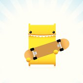 istock Cute Character Holding A Skateboard With Happy Expression 155580188