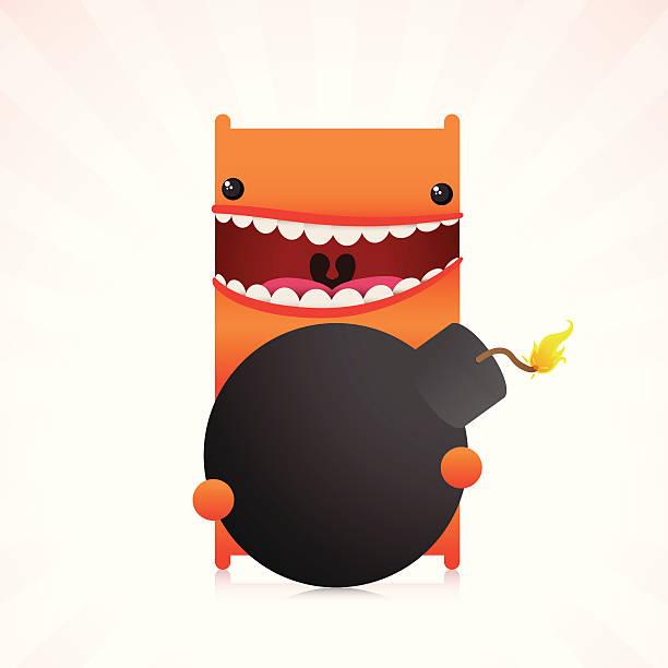 Cute Character Holding Oldschool Bomb Orange character holding a bomb with fired fuse with panic attitude. explosive fuse stock illustrations