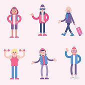 cute character illustration set