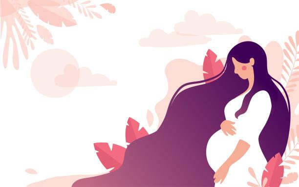 ilustrações, clipart, desenhos animados e ícones de caráter bonito de uma mulher gravida em um fundo de uma paisagem delicada com folhas e o sol, um lugar para o texto. o conceito de maternidade, gravidez, saúde, apoio às jovens mães. vetor de ações planas - gestante