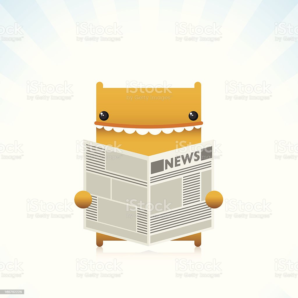 Cute Character Reading Newspaper royalty-free cute character reading newspaper stock vector art & more images of cheerful