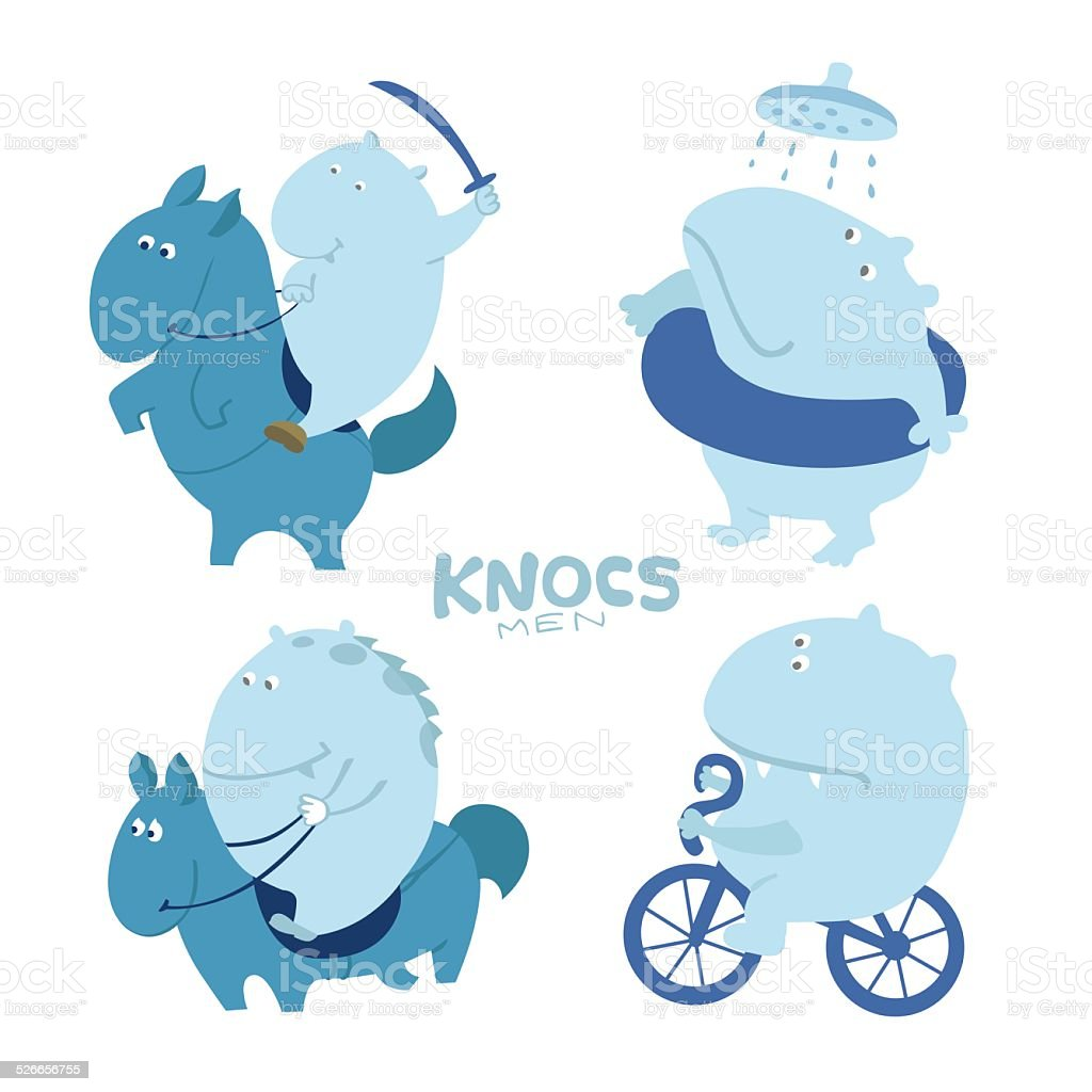 Cute character troll, hippo royalty-free cute character troll hippo stock vector art & more images of bicycle