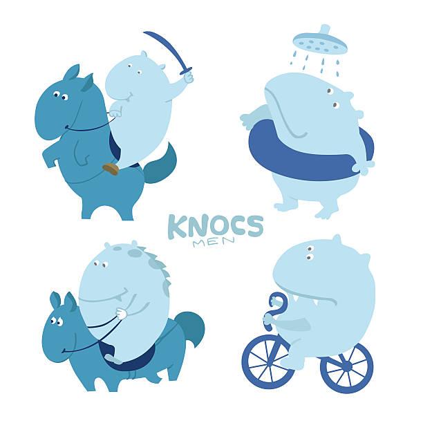 süße charakter troll, nilpferde - reiter stock-grafiken, -clipart, -cartoons und -symbole