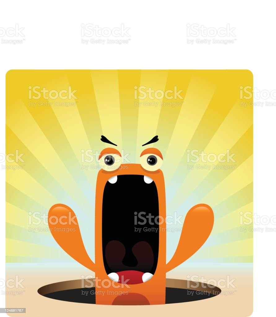 Cute Character With Angry Expression royalty-free stock vector art