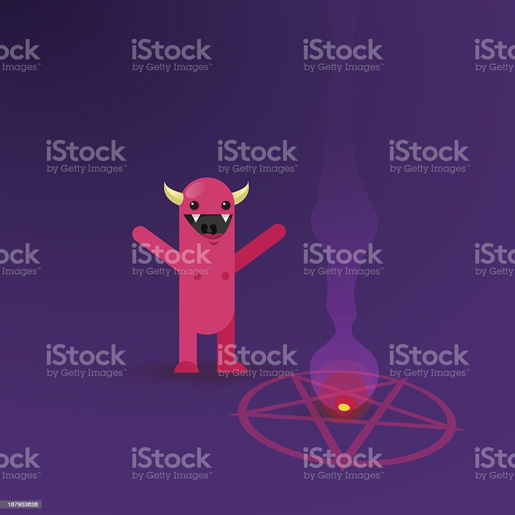 Cute Character Worships Satan royalty-free stock vector art