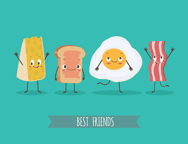 stockillustraties, clipart, cartoons en iconen met cute characters chees, bread, egg and bacon - egg