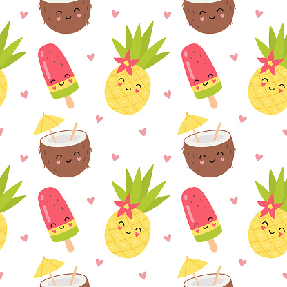 Cute characters coconut cocktail, pineapple, fruit ice. Summer party, holiday, fun. Cartoon seamless pattern for Print for packaging, fabrics, wallpapers, textiles.