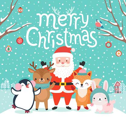 Cute characters hugging - Santa Claus, fox, reindeer, penguin and rabbit..