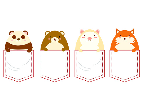 Cute characters in pocket set