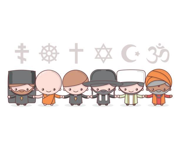 可愛的人物。猶太教拉比。佛教的和尚。印度教婆羅門。天主教神父。基督教聖父。伊斯蘭教的穆斯林。宗教的向量符號。友誼與和平的不同信仰。 - 宗教 幅插畫檔、美工圖案、卡通及圖標