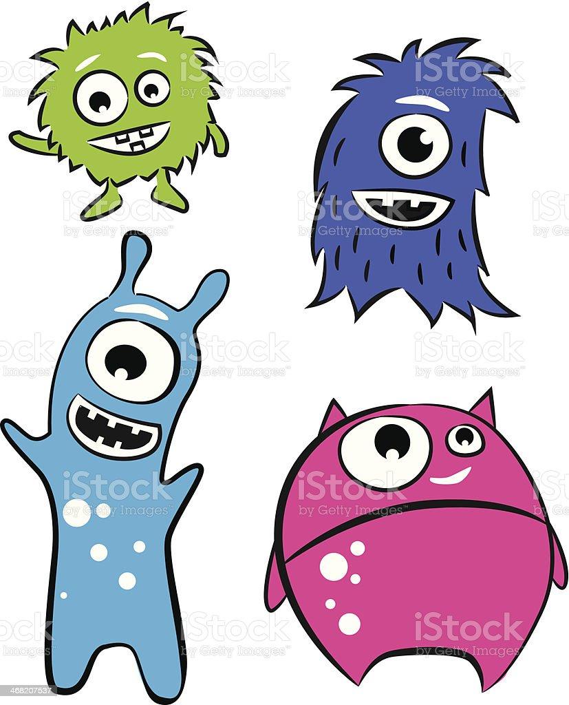 可愛いキャラクターの怪獣 いたずら書きのベクターアート素材や画像を