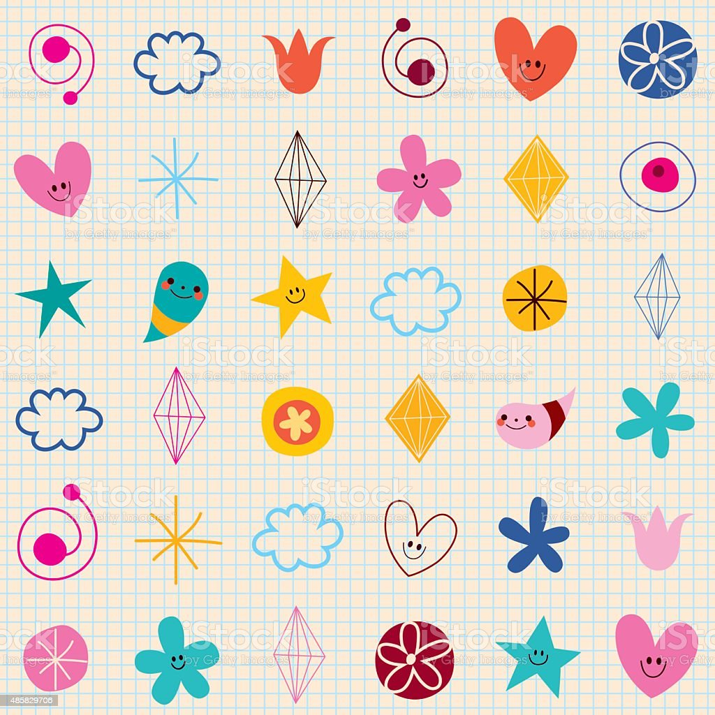 cute characters note book paper seamless pattern vector art illustration