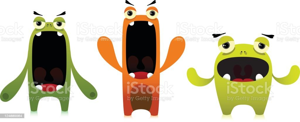 Cute Characters With Negative Expressions royalty-free stock vector art