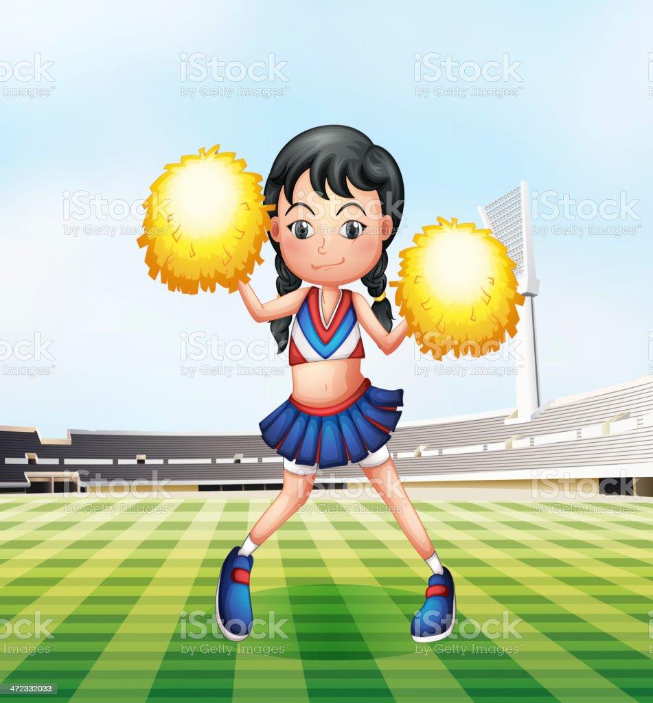 Cute cheerdancer at the soccer field royalty-free stock vector art