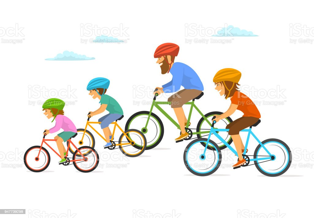 Cute Cheerful Cartoon Family Riding Bikes Bicycles Cycling ...