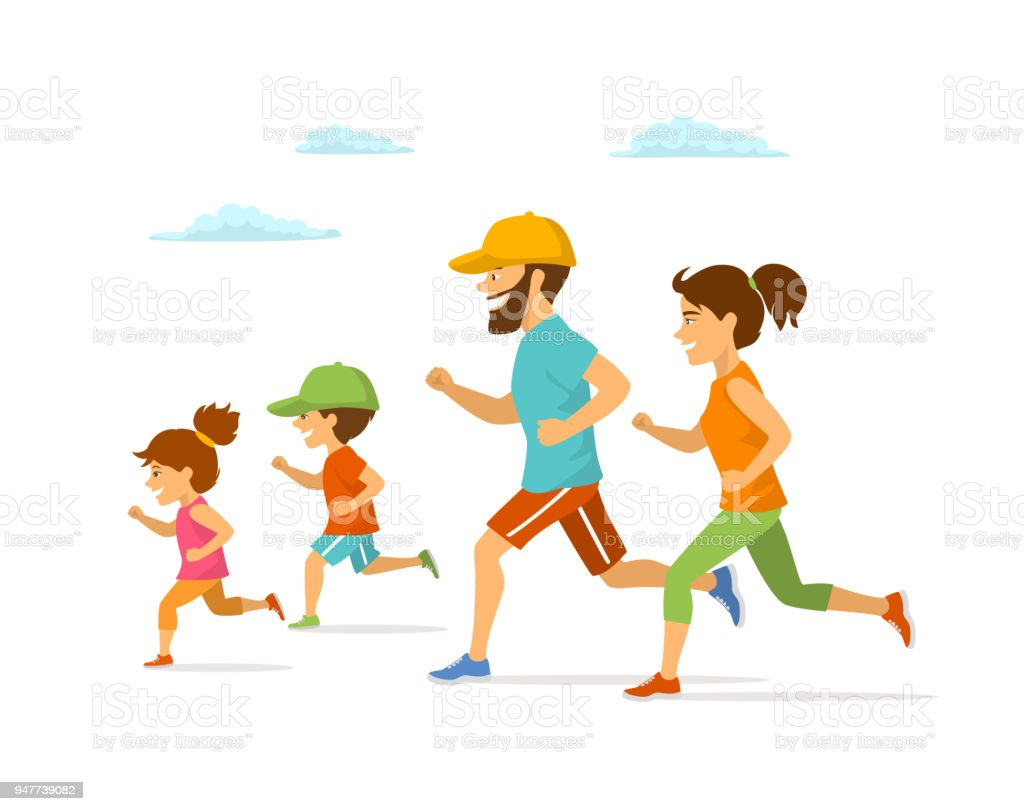 cute cheerful cartoon family running jogging together isolated vector illustration outdoor exercising isolated scene vector art illustration