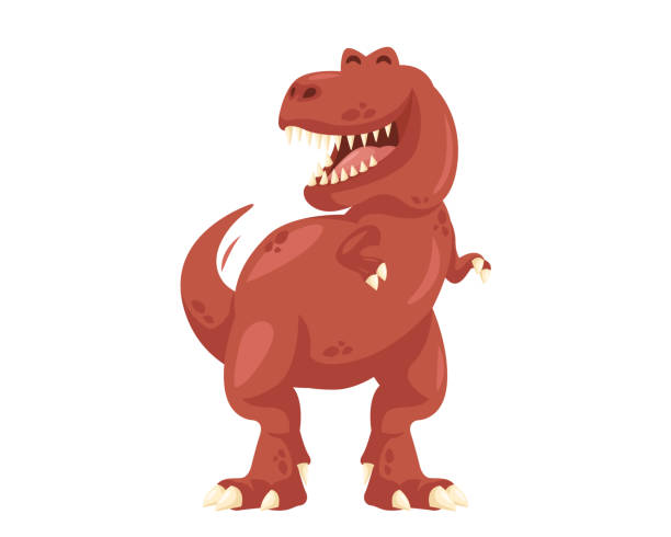 cute cheerful tyrannosaurus rex illustration - dinosaur stock illustrations, clip art, cartoons, & icons