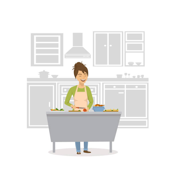 cute cheerful woman cooking in the kitchen, preparing food - woman cooking stock illustrations