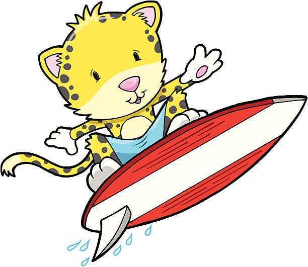 Cute Cheetah Surfing vector art illustration