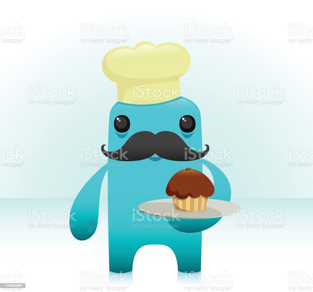 Cute Chef Character With Bold Moustache Holds Cupcake Plate royalty-free stock vector art