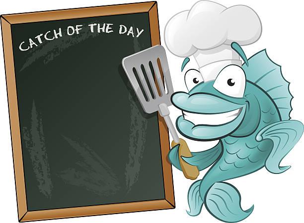 Cute Chef Fish with Spatula and Menu Board. vector art illustration