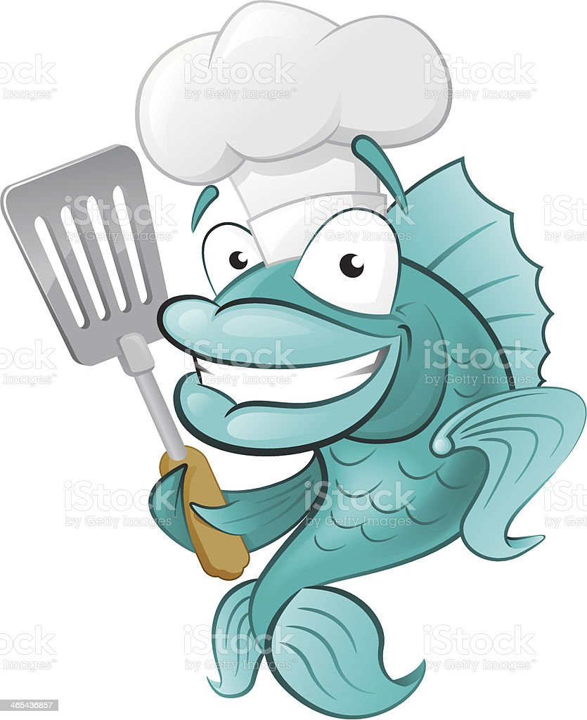Cute Chef Fish with Spatula. - Royalty-free Animal stock vector