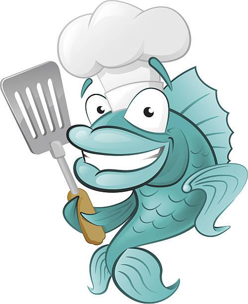 Cute Chef Fish with Spatula. vector art illustration