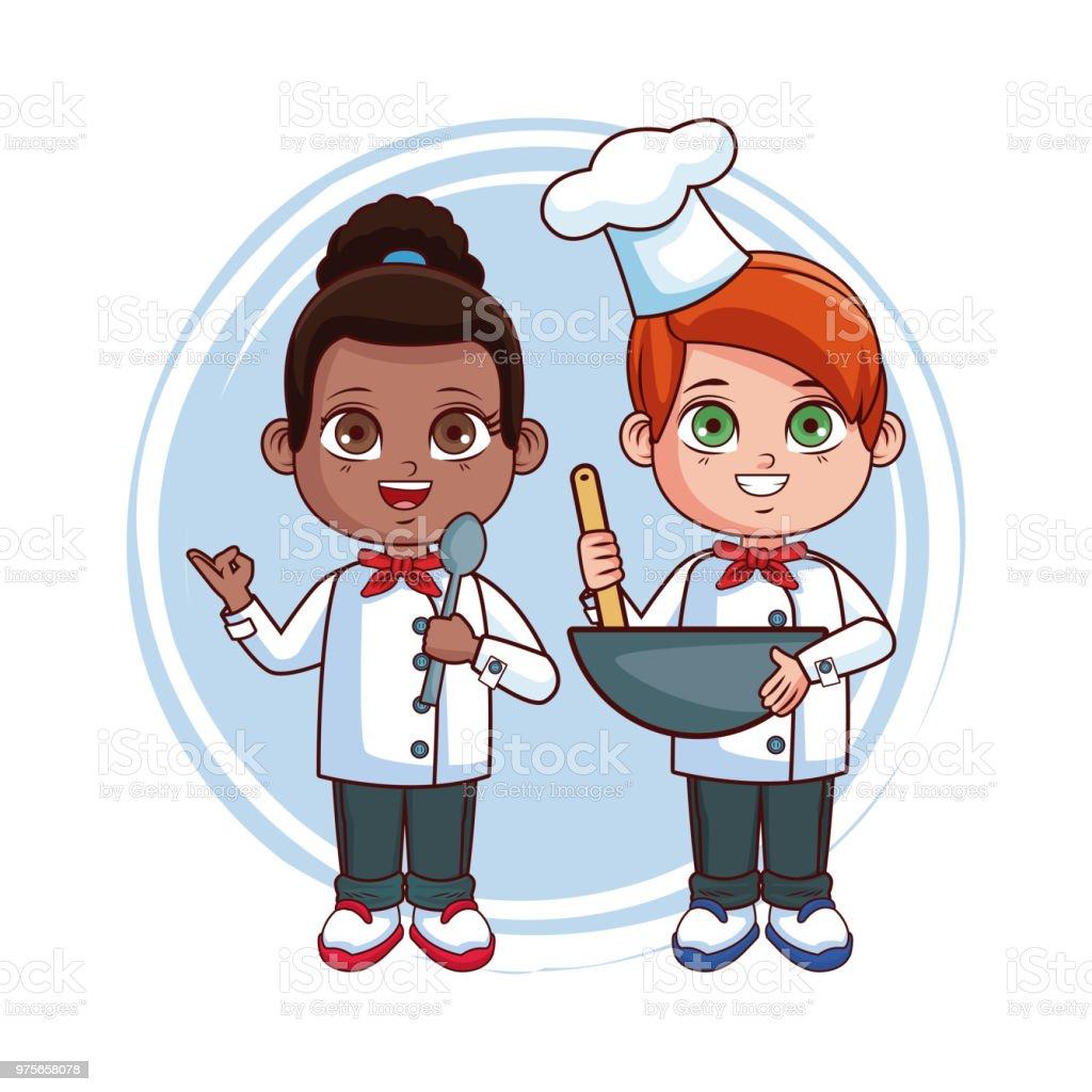 Ilustración De Cocinero Lindo Niños Dibujos Animados Y Más Vectores