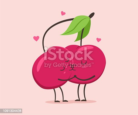Cute fruit couple character. Valentine day vector cartoon illustration.