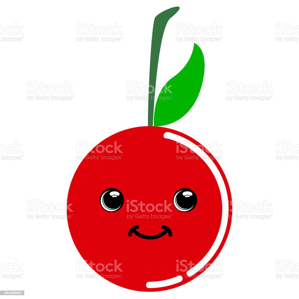 Cute cherry emoticon - Royalty-free Cartoon stock vector