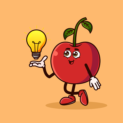 Cute Cherry fruit character with light bulb Idea on hand. Fruit character icon concept isolated. Emoji Sticker. flat cartoon style Vector