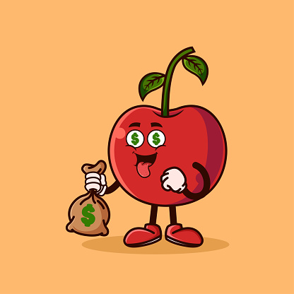 Cute Cherry fruit character with money eyes and holding money bag. Fruit character icon concept isolated. Emoji Sticker. flat cartoon style Vector