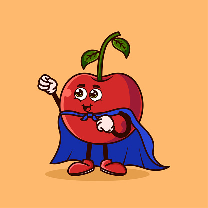 Cute Cherry fruit character with Super hero costume and try to fly. Fruit character icon concept isolated. Emoji Sticker. flat cartoon style Vector