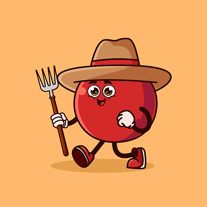 Cute Cherry fruit Farmer character with pitchfork
