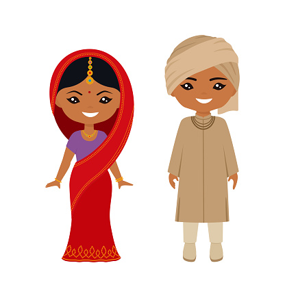 Cute chibi characters in national indian costume. Flat cartoon style